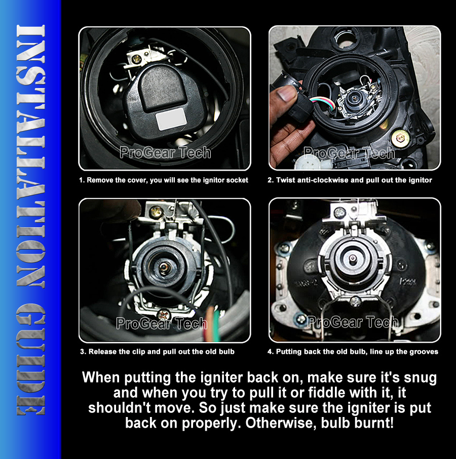ProGear Tech Performance D4S D4R HID Xenon headlight replacement bulbs installation guide